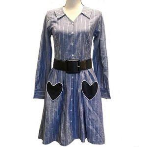 🛑 ModCloth NWOT Chambray Striped Button Up Dress